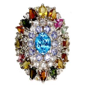 Oval Swiss Blue Topaz 8x6mm Tanzanite Tourmaline Gems 925 Sterling Silver Ring 8