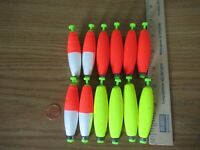 """12 2.5"""" FISHING BOBBERS Cigar Floats Assorted Weighted Foam Snap on Float"""