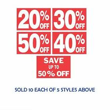 Multi Pack (50) Discount Off Signs (10ea @ 20%, 30%, 40%, 50%, SAVE 50% OFF)