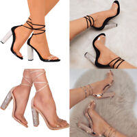 Summer Womens Ankle Strap Crystal Block High Heels Open Toe Sandals Ladies Pumps