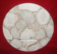 Gorgeous Semiprecious Agate Coffee Table Top, Gemstone White Agate Table Tops