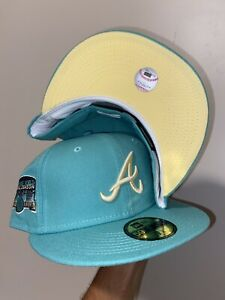 Atlanta Braves Green Turner Field Final Season Patch Fitted Yellow UV Size 7 1/8