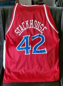Jerry Stackhouse Vintage Phila 76ers #42 Size 48 Champion Jersey NWOT AUTOGRAPH