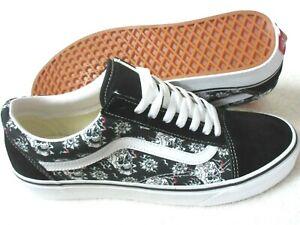 Vans Men's Old Skool Flash Skulls Black White Canvas Suede Skate shoes Size 11.5
