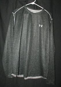 Men's Under Armour Black Gray Heatgear Long Sleeve Shirt Size 2XL