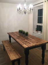 BLACK DISTRESSED FARMHOUSE KITCHEN DINING TABLE AND 2 BENCHES - MADE TO MEASURE