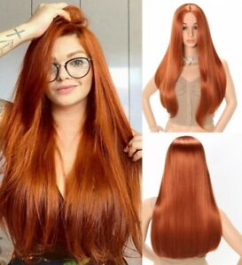 24inch Cosplay wig no lace Heat resistant hair Copper Red Full Head
