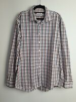 Calvin Klein Men's Check Button Up Shirt Long Sleeve Slim Fit Size 44 Large