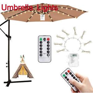 LED Fairy String Lights for Umbrella Patio Parasol Outdoor Garden W/ remote