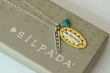 "Silpada NIB Sterling Silver Turquoise Crystal ""Be Strong"" Charm Necklace N3183"