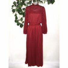 Creations By Aria Vintage 70s Dress w Slip Womens size 9/10 Victorian High Neck