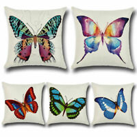 Cotton Linen Colorful Butterflies Throw Pillow Case Cushion Cover Sofa Car Decor