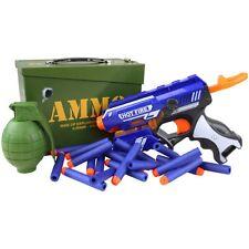 Kids Army Blaze Storm Play Set Ammo Tin Pistol Toy Gun Grenade Boys Soldier