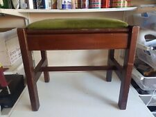 Large Lidded Footstool Foot Rest Green Fabric Wooden Frame Legs Furniture Home D