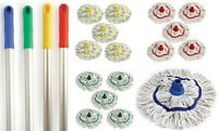 5 Colour Coded Mop Head Hygienic Cleaning Pure Yarn Cotton Mop Aluminium Handle