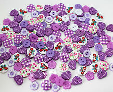 100 X Purple Mixed Wood & Resin Buttons Scrapbooking Sewing Craft Card Making