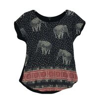 Espresso Embellished Tribal Elephant Blouse Sz M Mixed Material Cap Sleeve Top