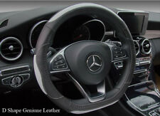 Top Quality Real Leather Steering Wheel Cover D Shape Sport White Black 37/38cm