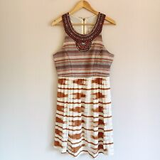 Lucky Brand Womens Size Large Multi Color Ikat Embellished Beaded Dress