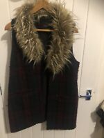 Sanctuary Wool Blend Gilet Jacket Red And Black Fur Anthropologie Size S 10 12