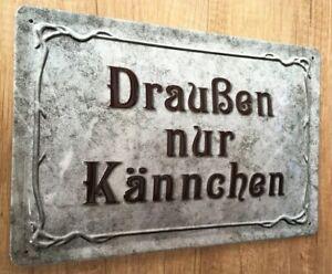 Draußen nur Kännchen BLECHSCHILD Jugendstil , Kaffee , 20 x 30 cm mit PRÄGUNG