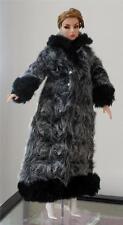 "12"" Doll's Faux Fur & Leather Barbie Coat~Fit Fashion Royalty~Nu Face~Monogram"