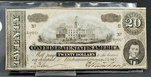1864 Civil War Confederate States Currency $20 Note Twenty Dollar Bill CSA VF 2