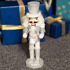 Silver Glitter Nutcracker Style Drummer Figurine