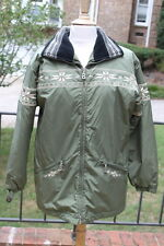 Bogner Christiania Olive Green Embroidered Deer Snowflake Coat Jacket sz 8 w4