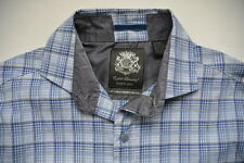 English Laundry Shirt M Blue Plaid Sport Button Front Cotton Blend