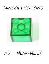 LEGO- X5 Trans-Green Brick 2 x 2   , 3003  NEUF