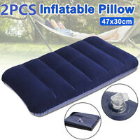 2PCS 47CM INFLATABLE FLOCKED PILLOW CAMPING TRAVEL SOFT BLOW UP BLUE LARGE  -