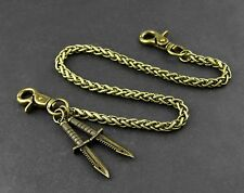 "Popular! Gothic Punk Heavy Metal Brass tone Wallet Chain 20"" WC0321"