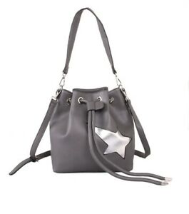 Red Cuckoo Grey Star Bucket Shoulder Bag