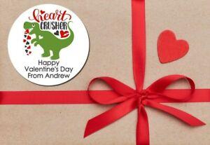 Heart Crusher Dinosaur Valentine's Day Stickers - Personalized Valentine Sticker