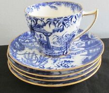 1 FLAT DEMITASSE CUP 4 SAUCERS BLUE MIKADO ROYAL CROWN DERBY