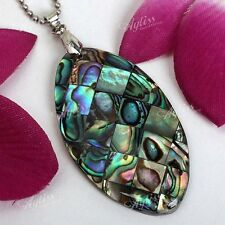 1x Natural Horse Eye Shape Abalone Mother Of Pearl MOP Shell Bead Pendant DIY