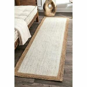 Rug 100% Natural Jute Braided 2x6 Ft Rug Handmade Carpet Rustic Look Area Rug