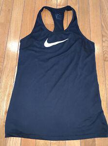 Nike Sleeveless Workout Sport Tank Top Black Size XS Logo Swoosh Dri-Fit Running