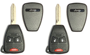 X2 Jeep Remote Head Key Shell 3 Button Removable Blade A+ Quality USA Seller