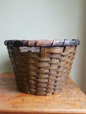 Large Vintage Primitive Splint Wood Apple Basket - Painted