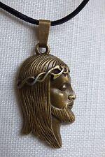 Jesus Anhänger Halskette Christus Antlitz Inri Religion Echt Leder Kette Bronze