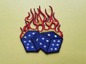 Flaming Poker Dice Novelty Patch:- Sew or Iron on Badge