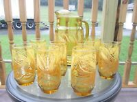 Vintage Rare Amber Libbey Golden Wheat Pitcher With 8 Short Drinking Glasses