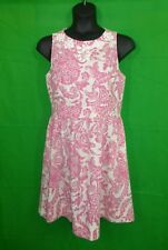 New Directions Dress 16 Floral Paisley Pink White Jewel Neckline Linen Pockets!