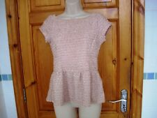 RIVER ISLAND salmon pink textured lined sparkly peplum top size 10 vg condition