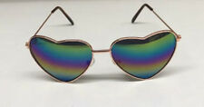 Rainbow Mirrored Heart Shape Glasses Sunglasses Shades 60s 70s Hippy Fancy Dress