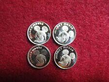 4 Disney Mickey Mouse 1/20th oz Slver .999 coins Not scrap Golfin & Mickey head