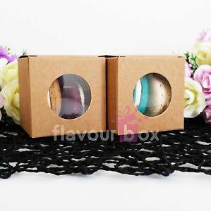 20x Kraft Vintage Favour Boxes - Macaron Cupcake Wedding Baby Shower Christening