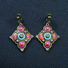Boucles d'Oreilles Clip Pendante Carré Ethnique Violet Soirée Mariage Cadeau C1